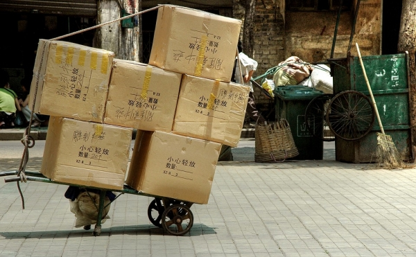 Packages Being Transported in China